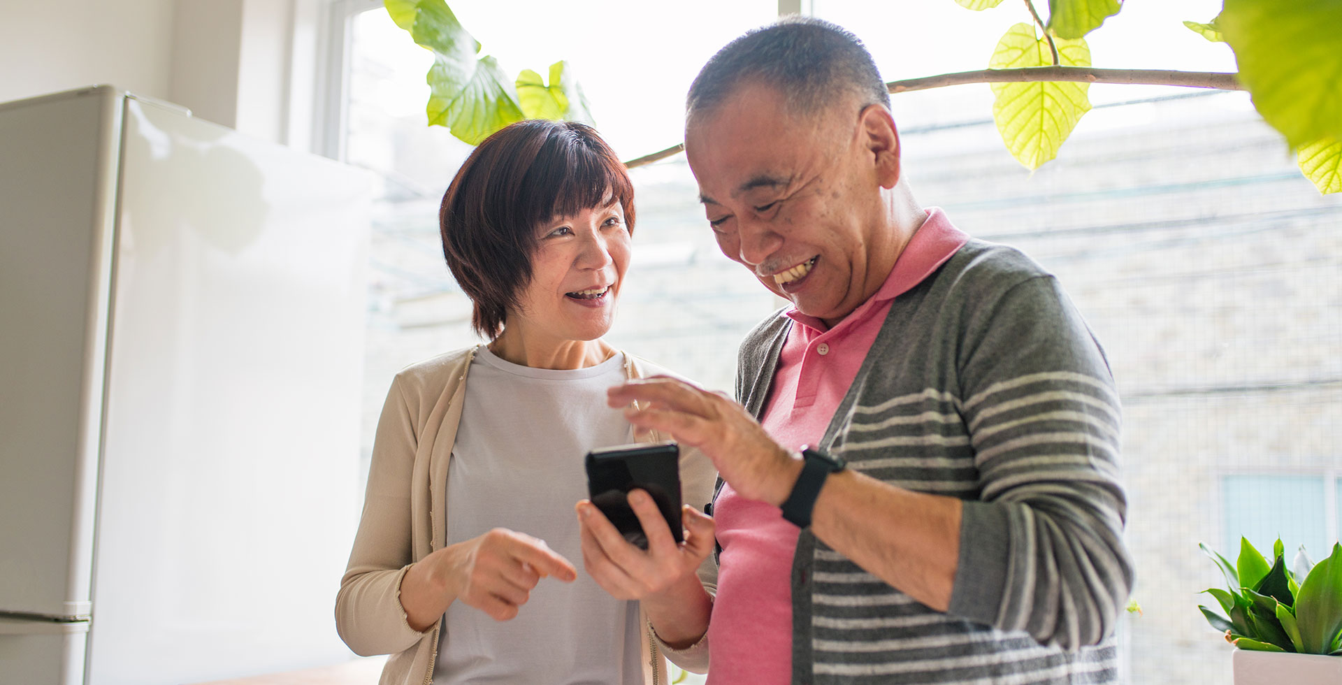 Couple using a Smarthphone