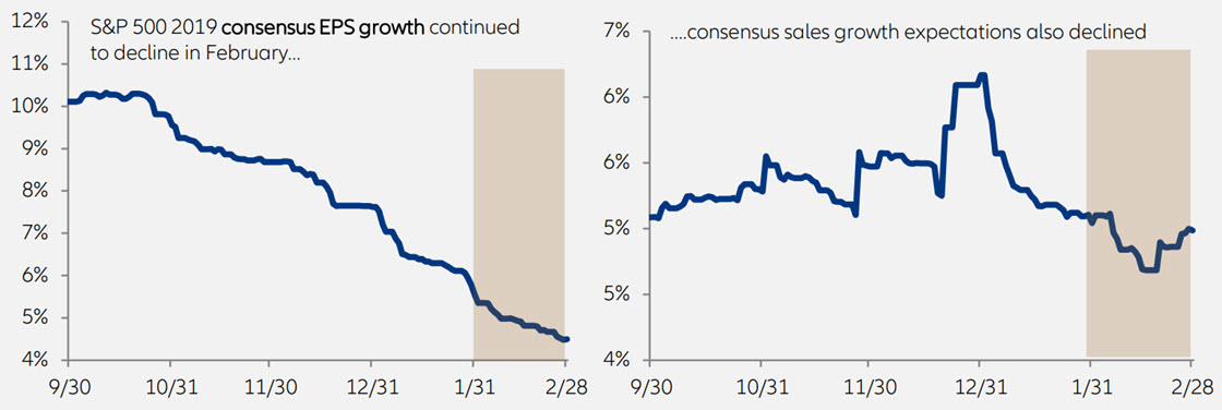 S&P 500 2019 consensus EPS growth continued to decline in February and consensus sales growth expectations also declined